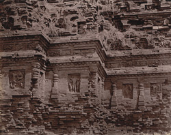 Close view of temple façade showing detail of mouldings and sculpture niches, Bhitargaon 1003679